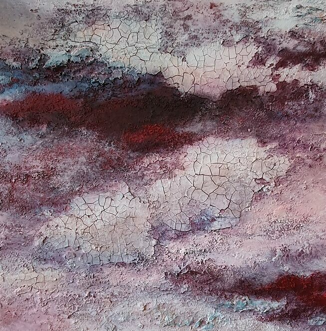 Rote Wolke, 40x40cm