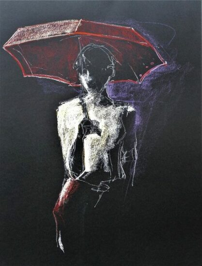 Der rote Schirm, 65x50cm