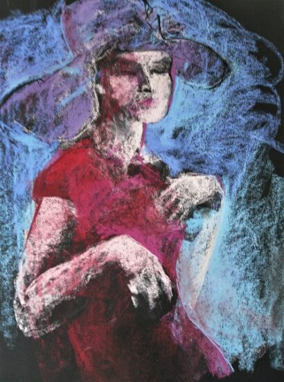 Frau in rotem Kleid, 65x50cm
